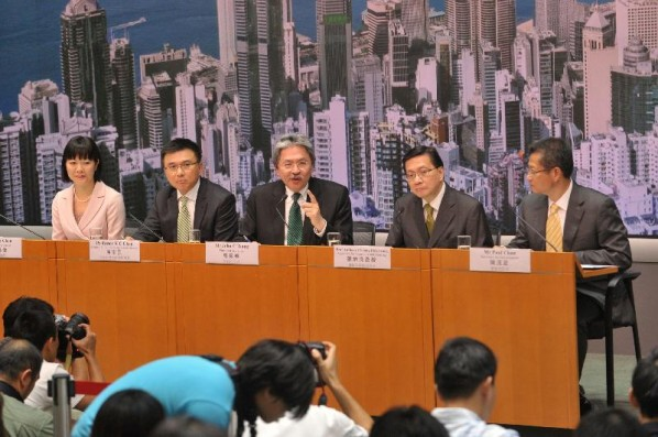 Financial Secretary John Tsang (Center) at Central Government Offices.